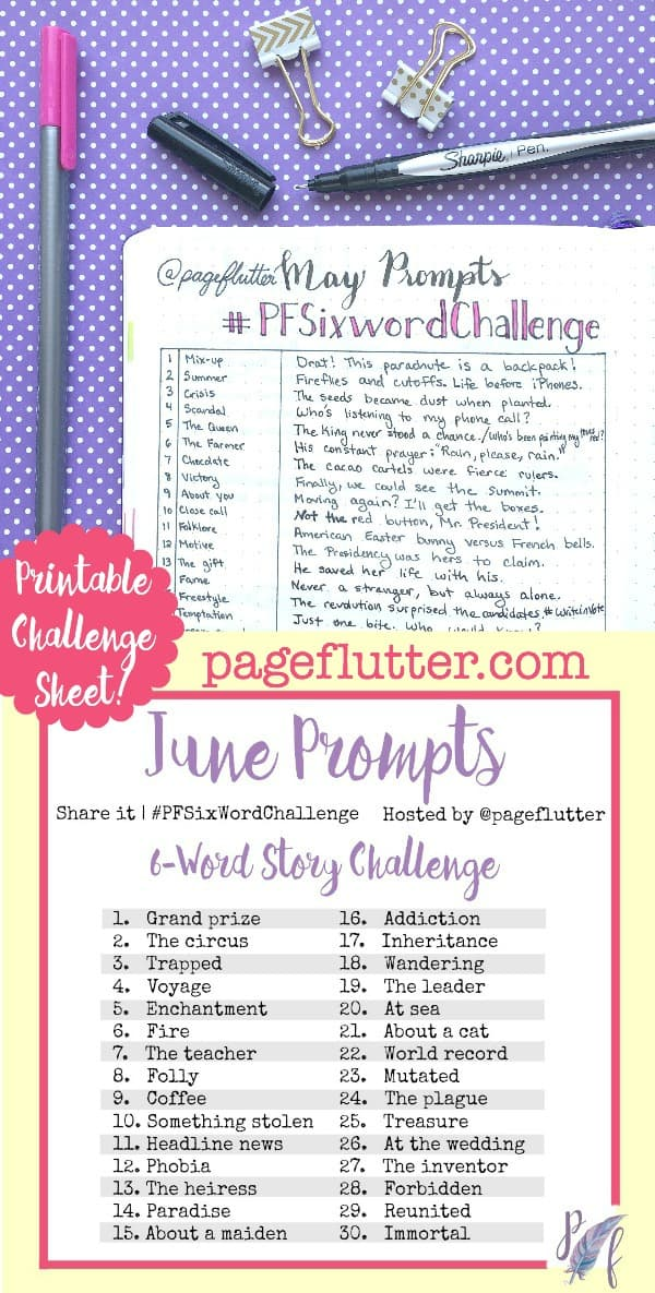June Six-Word Story Challenge Prompts  pageflutter.com   These challenges are so fun and inspiring! Write a six-word story each day based on the prompt. Take the challenge!