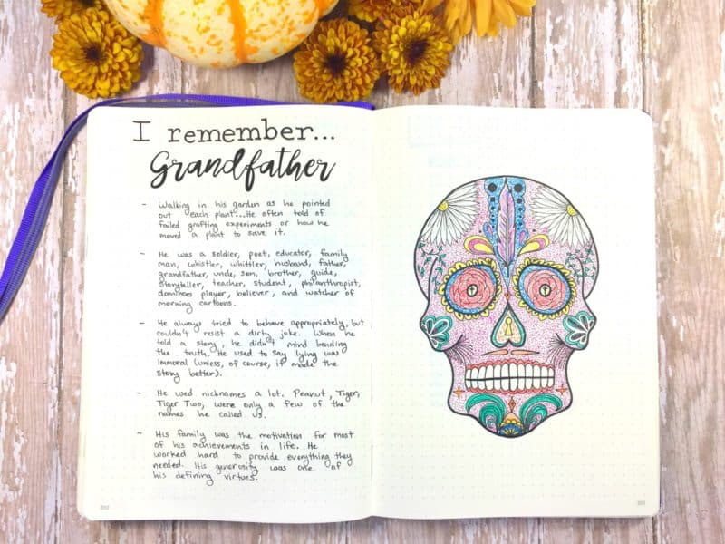 Remembrance spread and Day of the Dead sugar skull printable for your bullet journal.