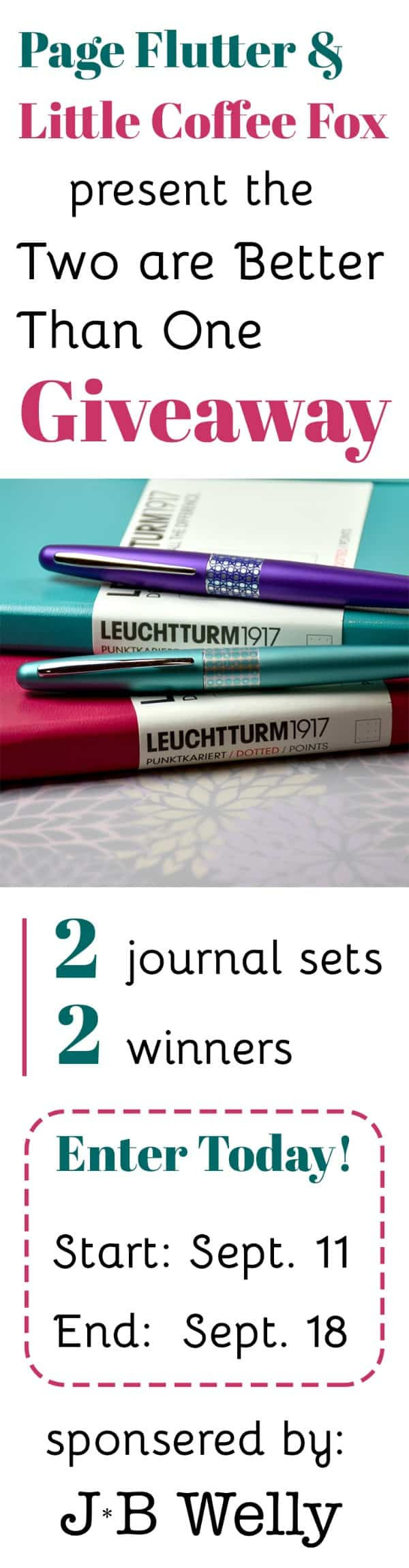 We're celebrating J*B Welly's wedding with a giveaway! 2 bullet journal kits, 2 winners. Enter today; ends Sept 18th!