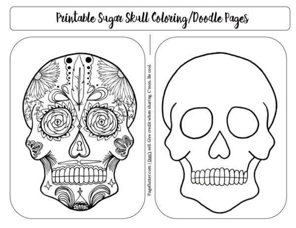 Sugar Skull Doodle/Coloring Pages for Bullet Journal Remembrance page
