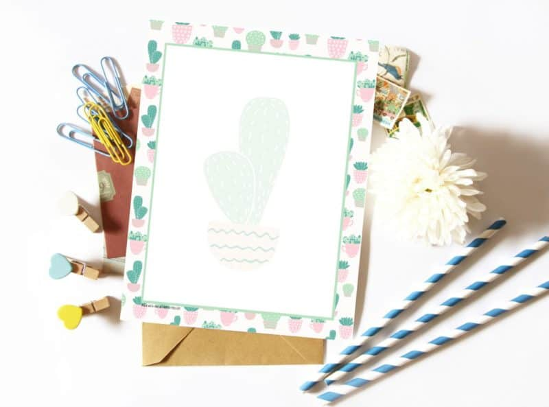 New the Page Flutter Vault! Printable cactus stationery & envelope.
