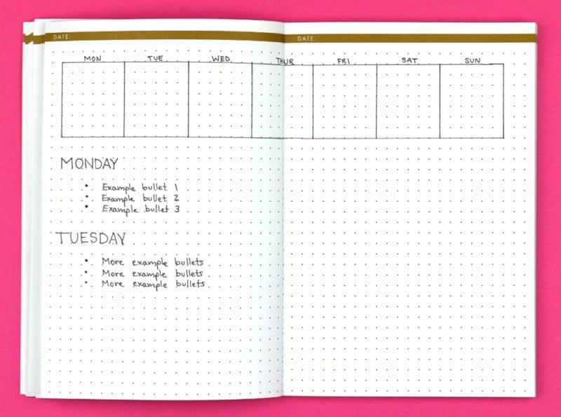 The Headliner; Weekly Bullet Journal Layouts| pageflutter.com