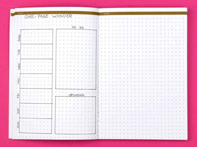 One-page Wonder; Weekly Bullet Journal Layouts | pageflutter.com