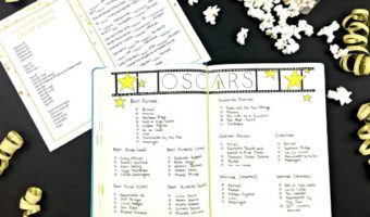 A Night at the Oscars in my Bullet Journal (PLUS, free printable acceptance speech)