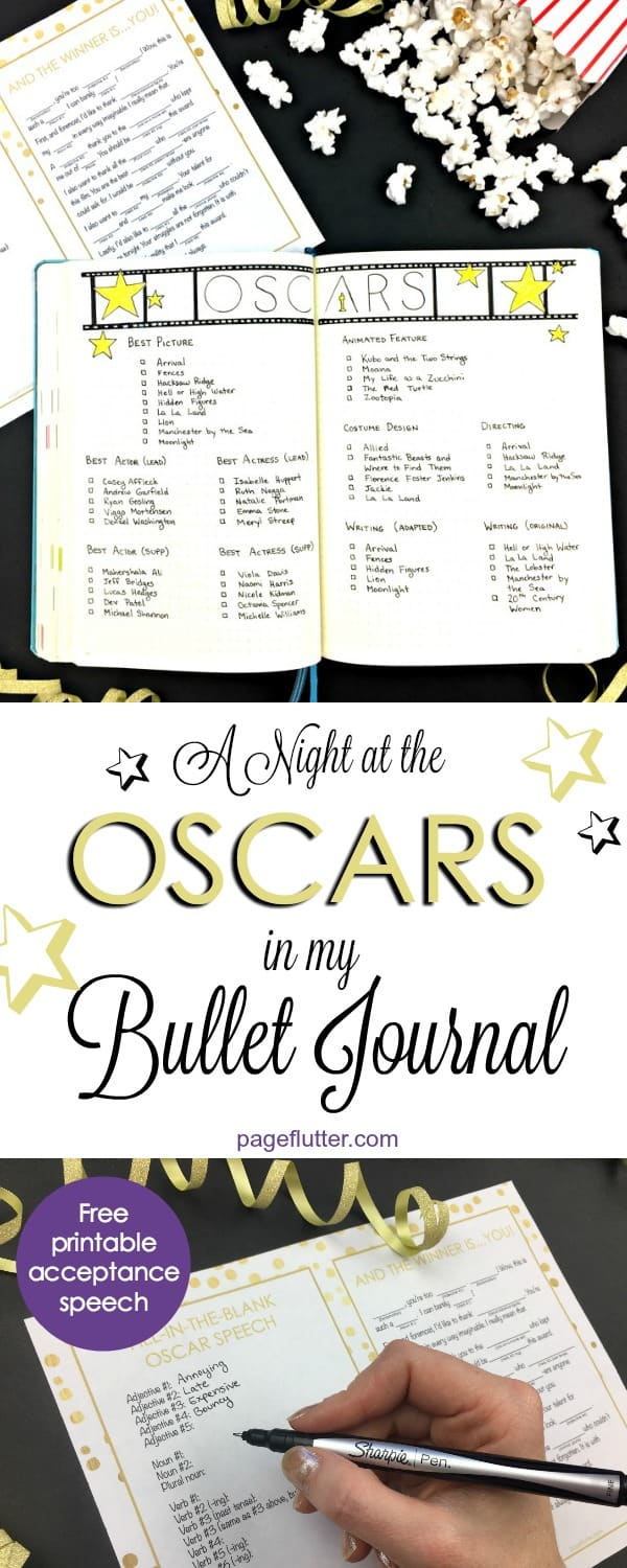 A Night at the Oscars in my Bullet Journal, plus a free printable acceptance speech to get your Oscar party laughing! | pageflutter.com
