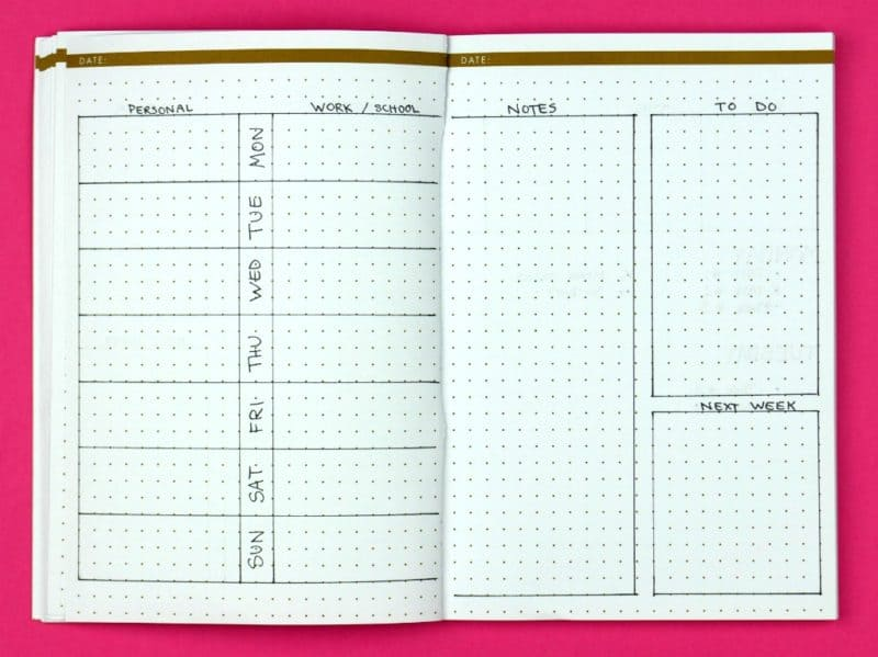 Sideways Glance; Weekly Bullet Journal Layouts | pageflutter.com