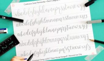 Continuous Script Penmanship Practice Worksheets