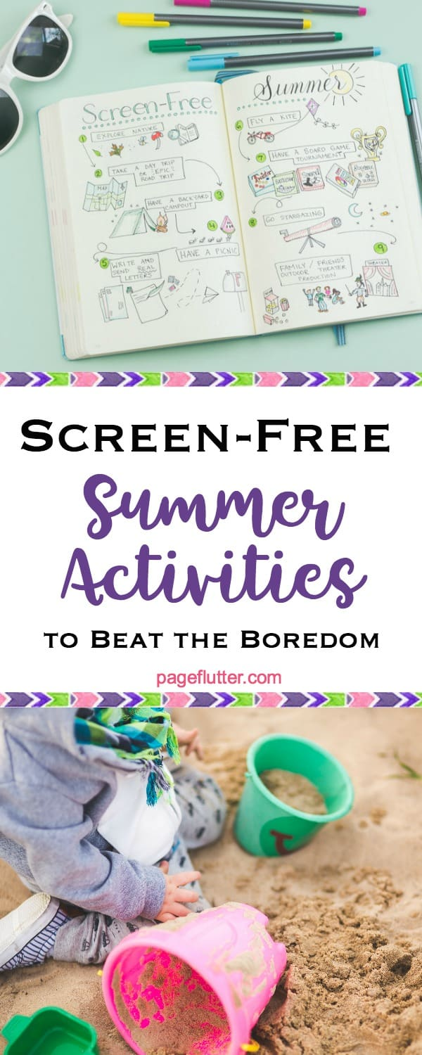 Screen-free summer activities for kids and grownups + My Bullet Journal spread.