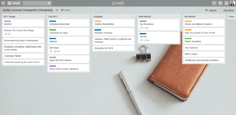 Trello and a Bullet Journal: digital and paper planning harmony.