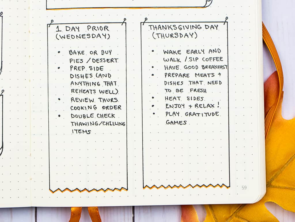 My checklist for a stress-free Thanksgiving! Journal pages and a free printable checklist