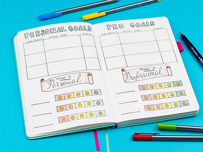 2018 goal planning page. How to set goals for the new year, plus my planner/bullet journal setup.