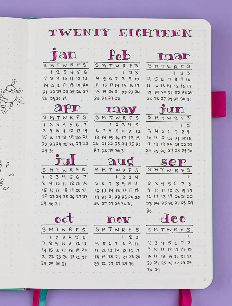 Planvember Day 3 (Facebook LIVE replay). Year-at-a-glance calendar page. Journal with me, my 2018 Bullet Journal.