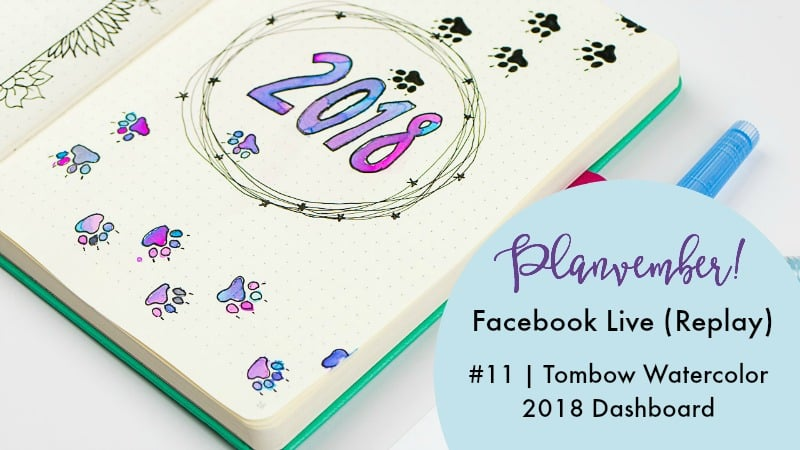 Faux watercolors with Tombow markers. Gorgeous journal dashboard! Planner, creative journal, or bullet journal.