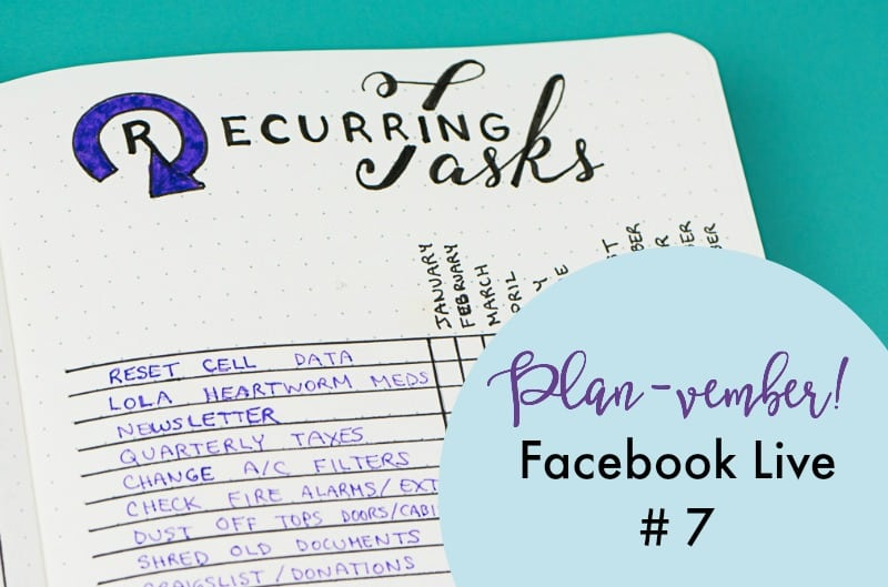 Planvember Day 7 (Facebook LIVE replay). Monthly task tracker. Journal with me, my 2018 Bullet Journal.
