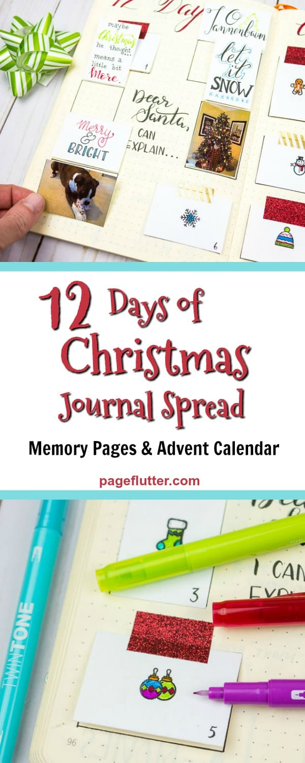 Fun Christmas page for holiday journaling, memory keeping. Hand lettered quotes for 12 Days of Christmas, DIY Advent Calendar. #journaling #memorykeeping