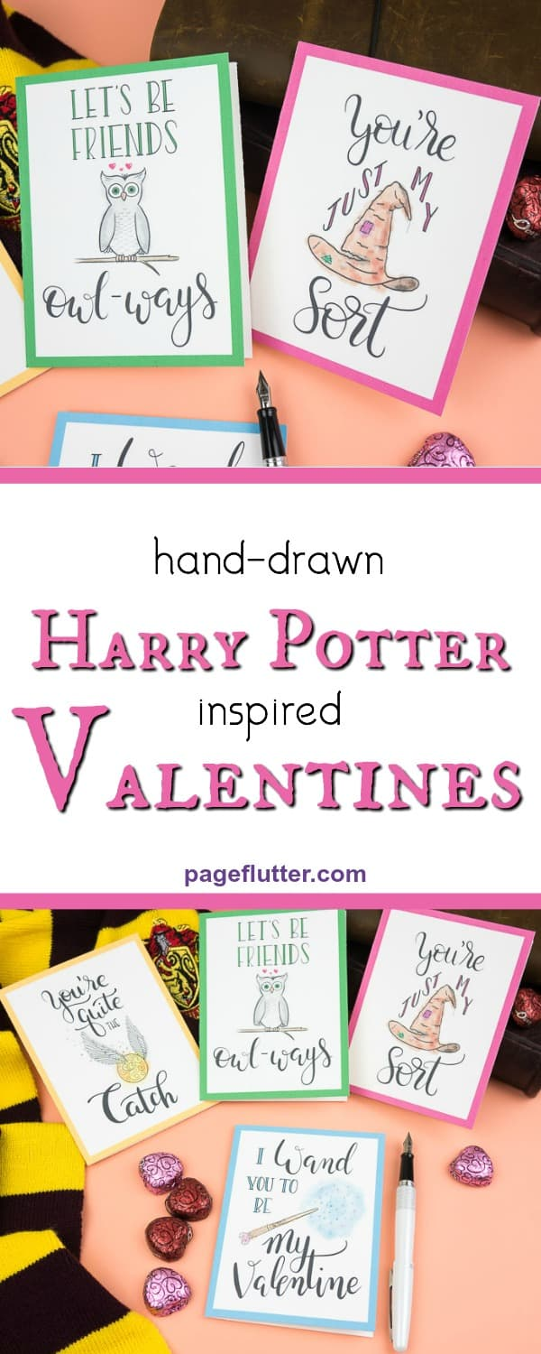 Printable Harry Potter Valentines are perfect happy mail for your #incowrimo pen pals, Potterheads #valentinesday