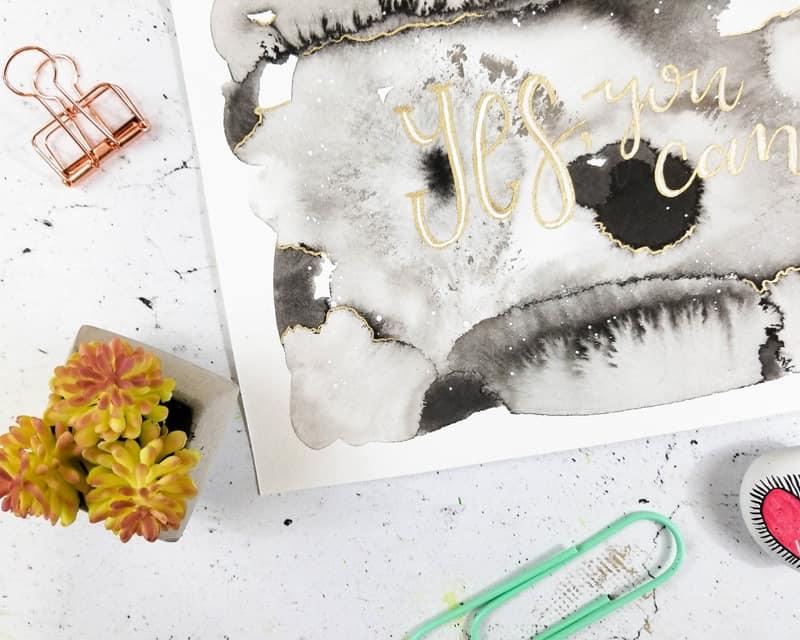 Sumi Ink Motivational Wall Art Tutorial - Fox + Hazel for Page Flutter