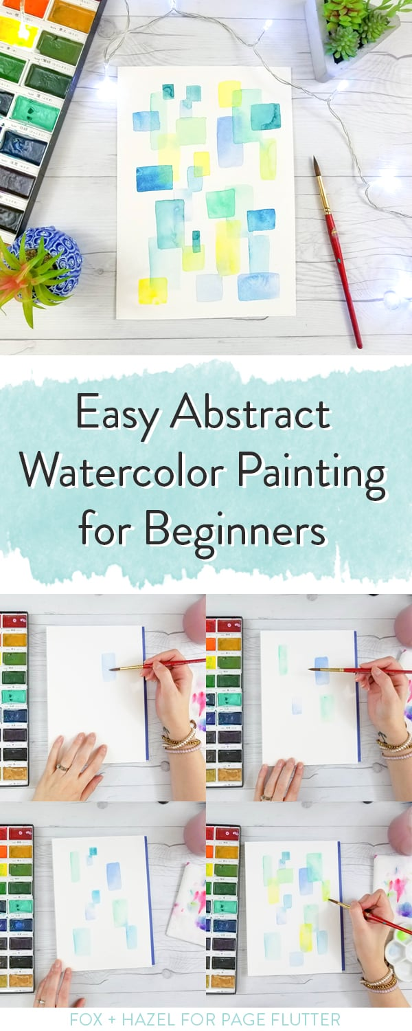 Practice glazing, color, and shape with this watercolor painting for beginners Fox + Hazel for PageFlutter.com