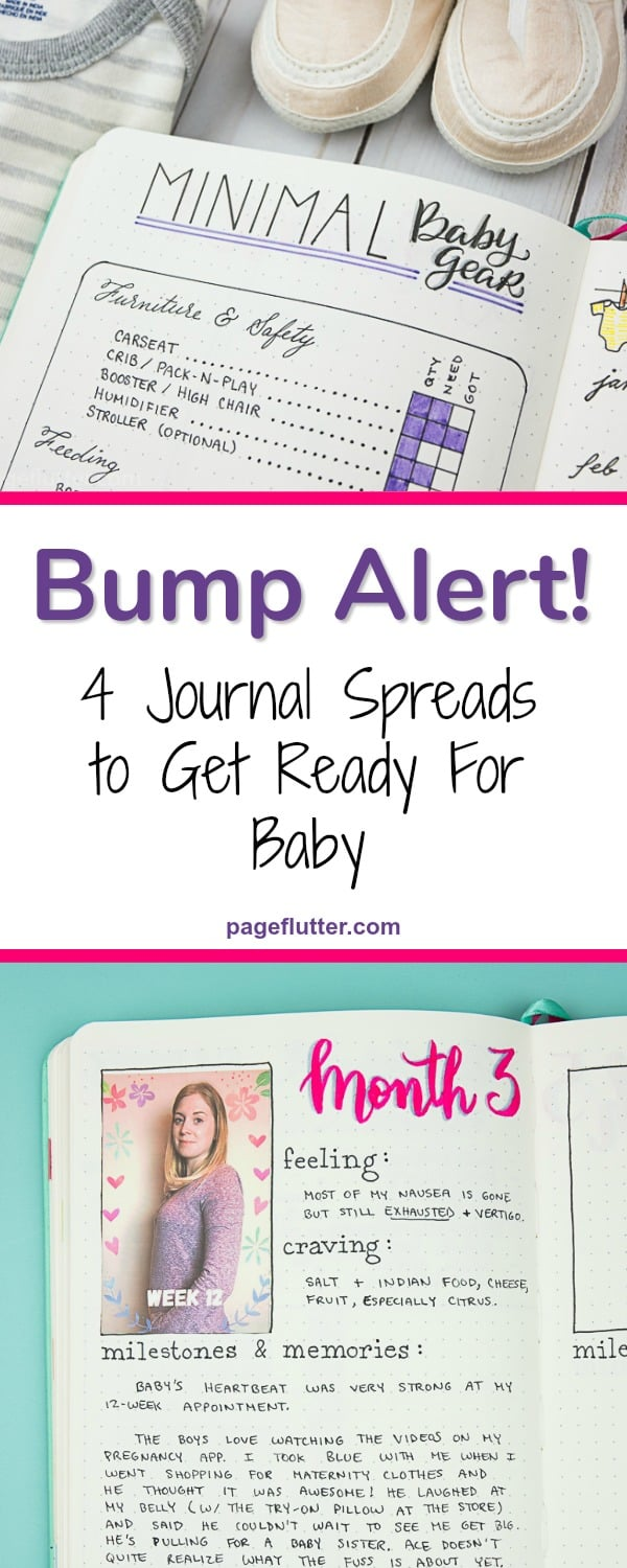 My pregnancy Bullet Journal trackers have places for bump photos, a pregnancy health tracker, minimal baby gear list, and a baby prep timeline! |pageflutter.comncy journal trackers have places for bump photos, a pregnancy health tracker, minimal baby gear list, and a baby prep timeline!