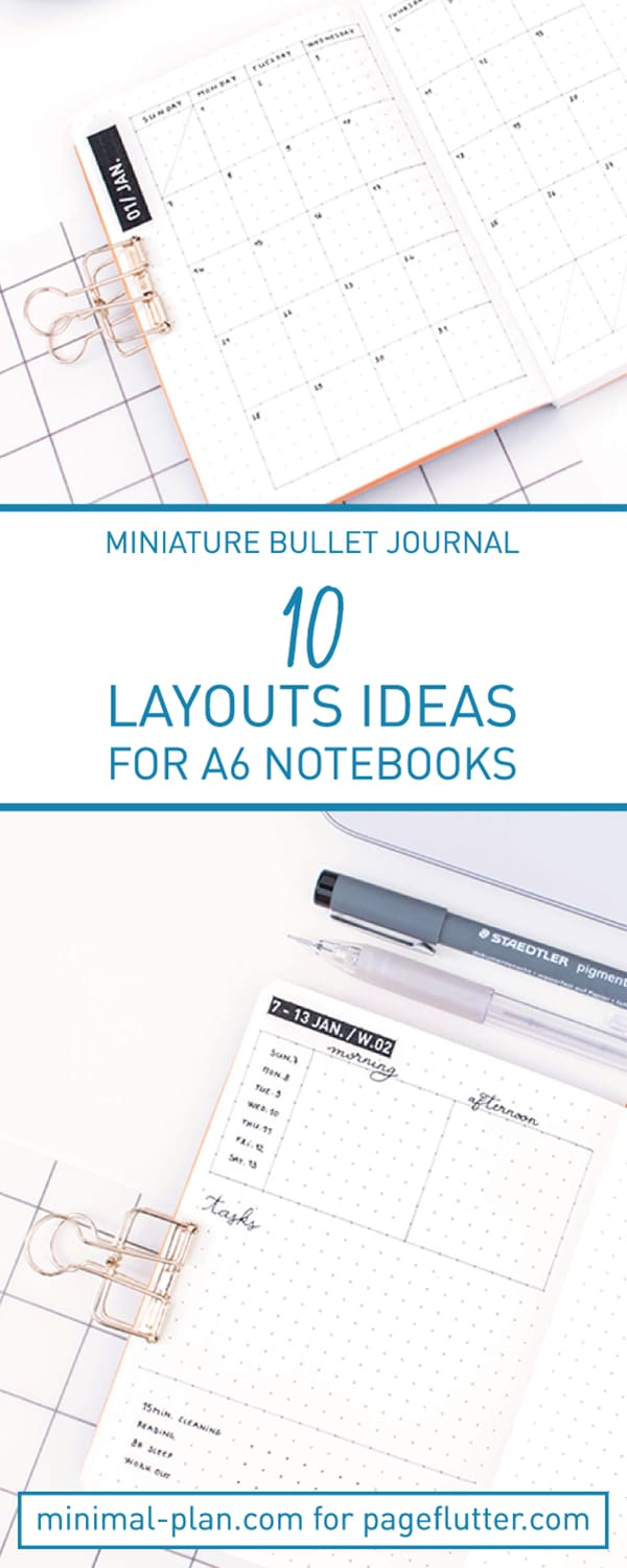 Miniature paper planning ideas! A6 Bullet Journal Layouts for your post portable paper planning ever!