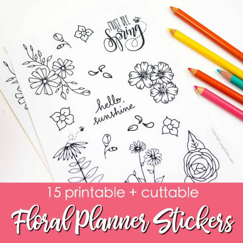 15 Printable Floral Planner Stickers to Beautify Your Entire Routine. Stickers for planners and Bullet journal, doodle stickers, print and cut stickers. | pageflutter.com