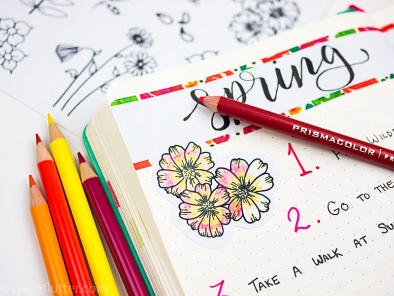 15 Printable Floral Planner Stickers to Beautify Your Entire Routine-8 | Floral planner sticker decorated with colored pencil| pageflutter.com