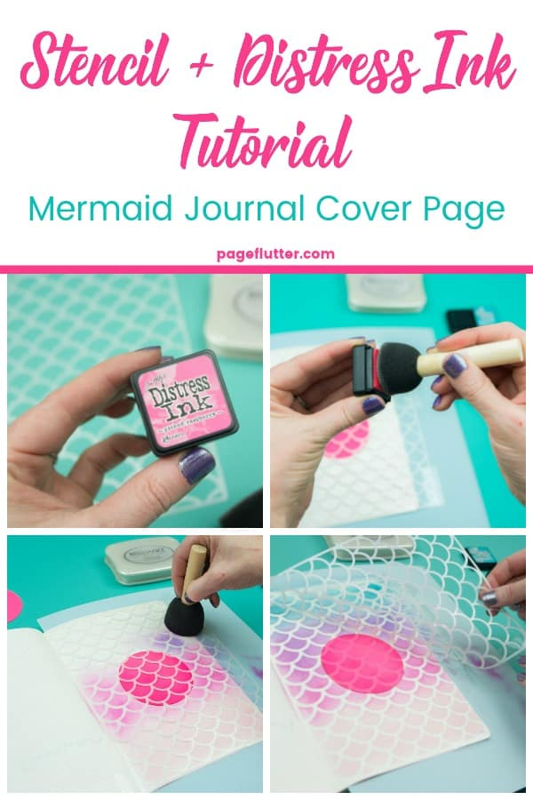 Stencil + Distress Ink Tutorial. I cut this mermaid stencil on my Cricut and blended distress inks on a Bullet Journal planning cover page | pageflutter.com