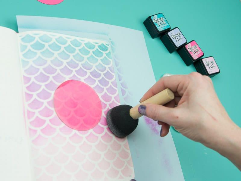 Stencil + Distress Ink Tutorial: Step 8 (optional), Add pearl finish |pageflutter.com