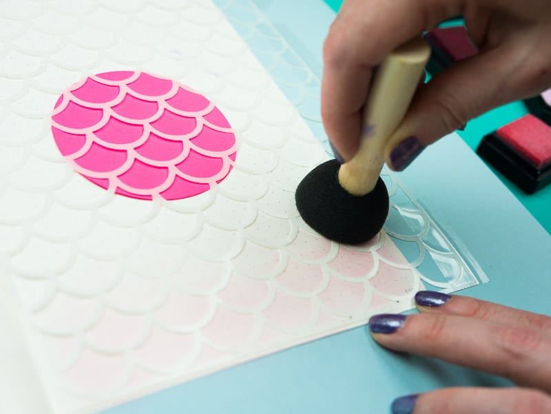 Stencil + Distress Ink Tutorial: Step 4, Swirl ink onto page |pageflutter.com