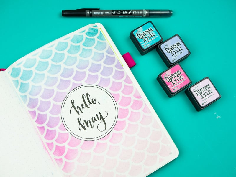 Super Easy Stencil + Distress Ink Tutorial: Mermaid Journal Cover