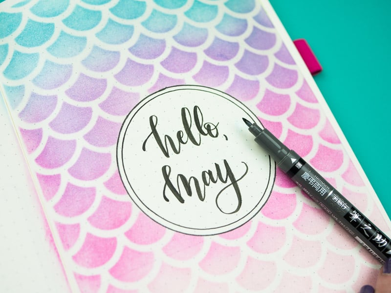 Stencil + Distress Ink Tutorial: Step 10, add lettering and doodles to your cover page |pageflutter.com