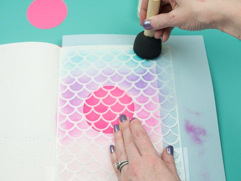 Stencil + Distress Ink Tutorial: Step 6, finish with darkest color pageflutter.com