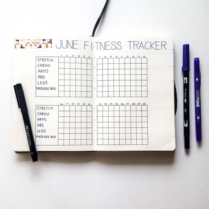 30+ Super Trackers For Your Planner: Daily, Monthly, Yearly |purple june fitness (2) | Jihi Elephant for pageflutter.com