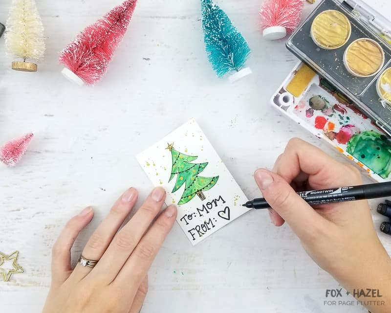 Watercolor Christmas Tree Gift Tags - Fox + Hazel for Page Flutter-Pin #giftwrapping #christmasDIY #watercolor #holidayDIY