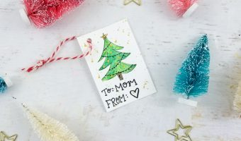 DIY Watercolor Christmas Tree Gift Tags